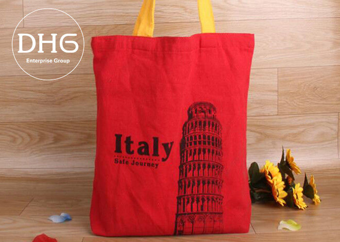 Non Toxic Cotton Shopping Bag Full Colour Transfer Printing Hand Worked